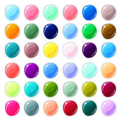 Multicolored glass buttons on white background. Blank vector buttons for web design or game graphic.