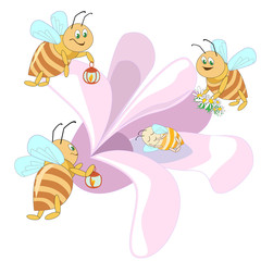 The family of bees flying to a pink flower where the baby bee is sleeping. Insects with lanterns gathered around the newborn