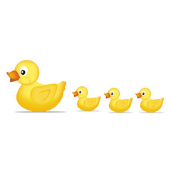 Yellow duck family Vector