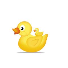 Yellow duck family Vector