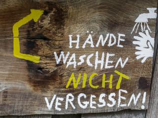 Hände waschen nicht vergessen