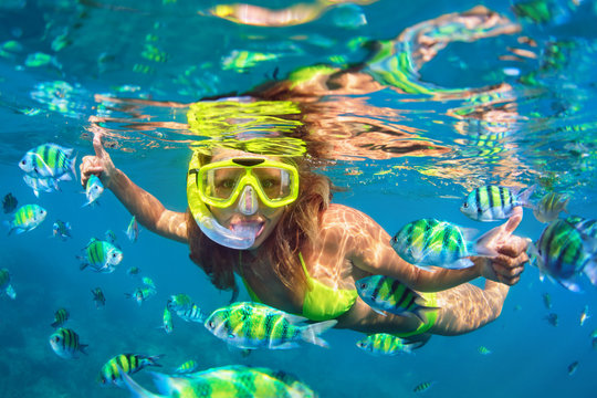 Happy family - girl in snorkeling mask dive underwater with fishes school in coral reef sea pool. Travel lifestyle, water sport outdoor adventure, swimming lessons on summer beach holidays with child.