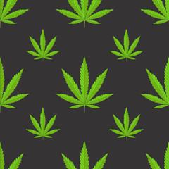 Seamless pattern with marijuana