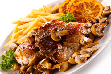 Roast steak with french fries