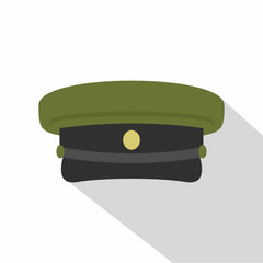 Military hat icon, flat style