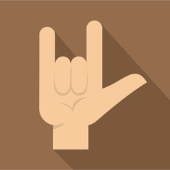 Rock gesture icon, flat style