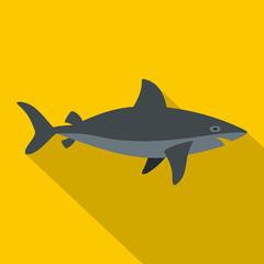Grey shark fish icon, flat style
