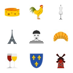Travel to France icons set, flat style