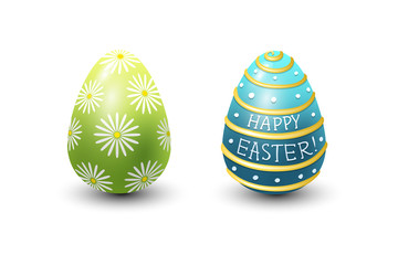 Easter eggs painted with spring pattern vector illustration.
