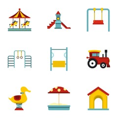 Children playing elements icons set, flat style