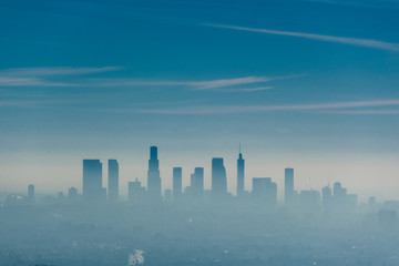 Foto op Plexiglas Los Angeles Los Angeles misty skyline, California, USA