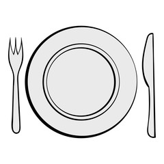 Cutlery set with plate icon cartoon