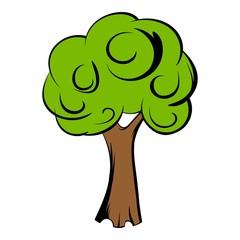 Green tree icon cartoon