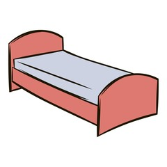 Single bed icon cartoon