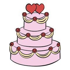 Wedding cake icon cartoon