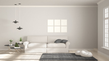 Minimalist room, simple white and gray living with big window, scandinavian classic interior design