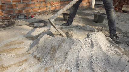 The cementers are mixing mortar