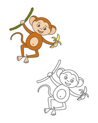 Monkey for coloring book.