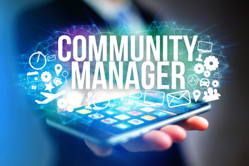 Concept of man futuristic interface community manager title and multimedia icons flying all around - Internet concept