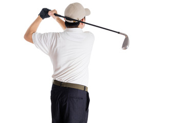 Rear view of Asian Chinese Man Swinging Golf Club