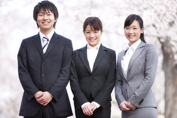 Portrait of business people under cherry blossoms