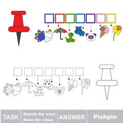 Search the hidden word, the simple educational kid game.