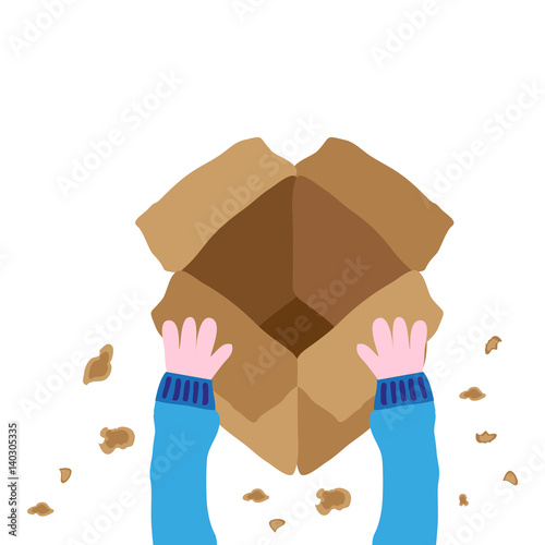 Unboxing Package Drawing Vector Illustration Graphic