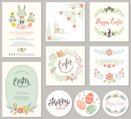 Easter templates with eggs, flowers, floral wreath and branches, ornate corners and dividers, rabbit and typographic design.