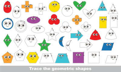 Vector trace educational game for preschool kids.