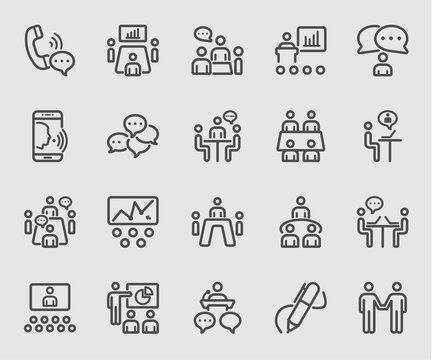 Business conference and Meeting line icon