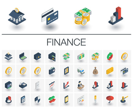 Isometric flat icon set. 3d vector colorful illustration with banking and finance symbols. Credit card, wallet, coin, safe, money bag, cash, dollar, euro, pound colorful pictogram Isolated on white