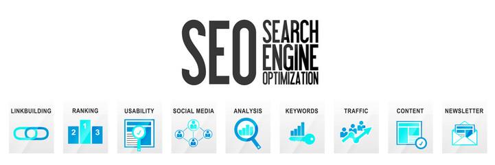 SEO Suchmaschinenoptimierung Website Banner Homepage OnlineMarketing Optimierung Webseite