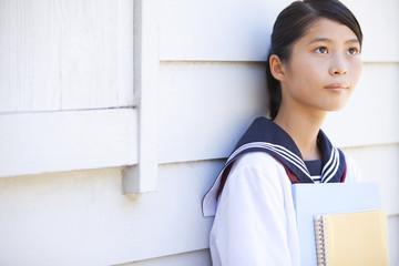 Junior High School girl looking away
