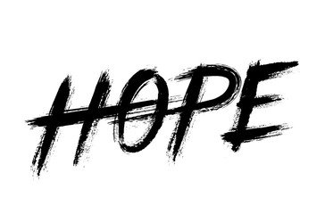 Hope Lettering Grunge Brush Strokes Word