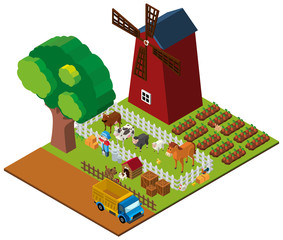 3D design for farmland with farmer and animals