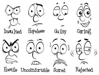 Facial expressions with words