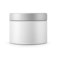 Round white matte plastic jar for cosmetics