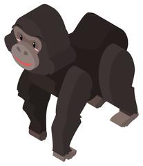 Gorilla with black fur in 3D
