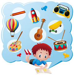 Boy and different toys and collections
