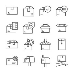 Delivery and logistics line icon set 2