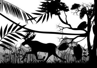Silhouettes of Elk running in the forest  monochrome vector illustration