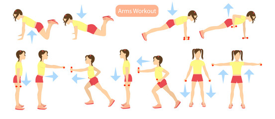 Arms workout set on white background. Exercises for girls. Healthcare for children.