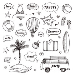 Set of hand drawn travel doodle. Tourism and summer sketch with travelling elements and speech bubbles. Vector illustration
