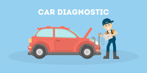 Car diagnostic in service center. Repairman checks the car's parts and engine.