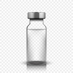 Transparent glass medical vial, vector illustration on simple background