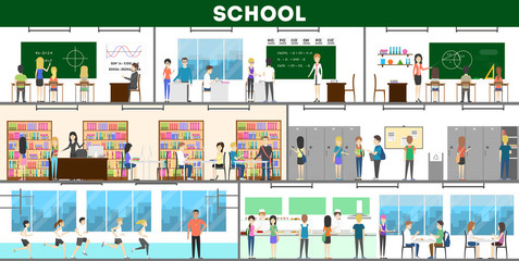 School interior set. Maths and chemistry, library and campus.