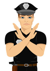 serious young policeman making X sign shape with his arms and hands