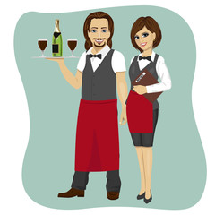 Waiter and waitress holding a serving tray with glass and bottle of champagne and menu