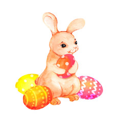 Cute easter bunny animal with painted eggs. Watercolour