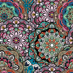 Garden Poster Moroccan Tiles Seamless ethnic pattern with floral motives. Mandala stylized print template for fabric and paper. Indian or Arabic motive. Boho festival style.